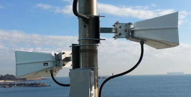 Picture of an LRAD 360X and LRAD DS-60 installation